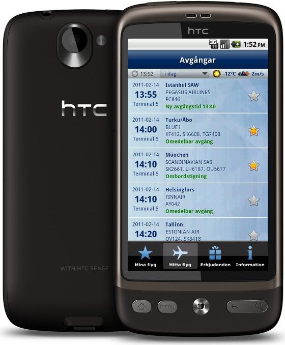 Android-applikation Arlanda flygplats