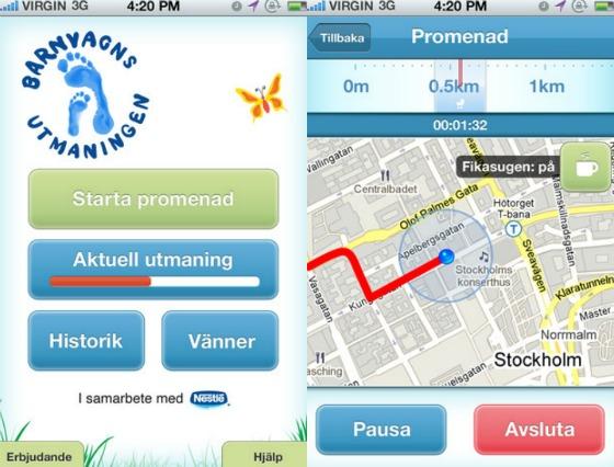Barnvagnsutmaningen iPhone-app