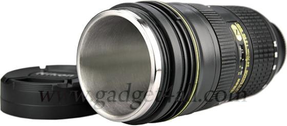 Nikon kameralins som kaffekopp