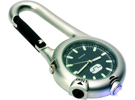 Karbinhake med klocka och ficklampa