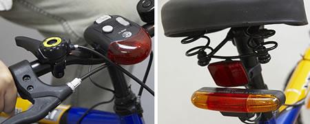 Blinkers, bromsljus och signalhorn för cykeln