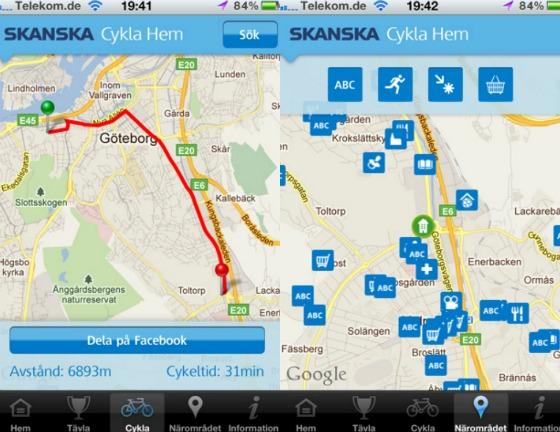 Cykla hem iPhone-app