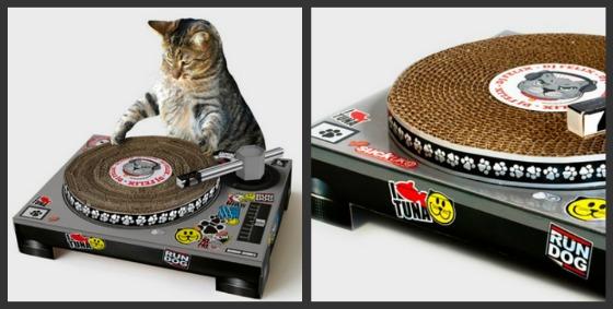 Skivspelare som klösbräda för katter