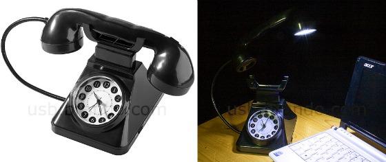 Gammeldags telefon som lampa och väckarklocka