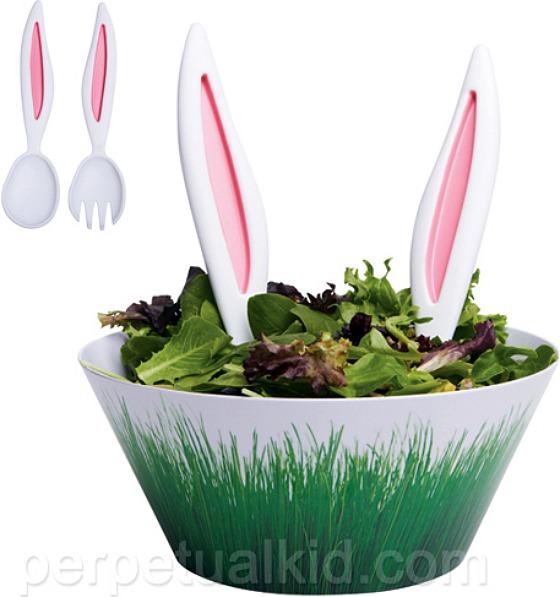 Kaninöron som salladsbestick