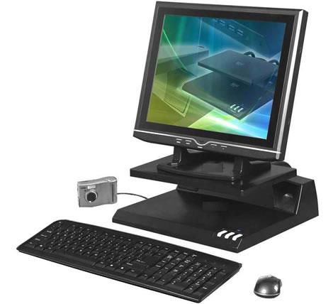Datorstativ med USB-hub och högtalare