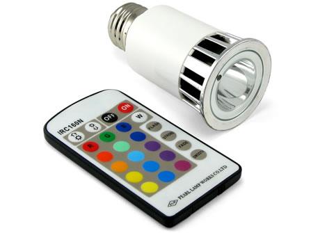 Färgglad lysdiod som glödlampa