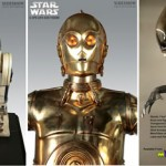 Tre science fiction-figurer i naturlig storlek