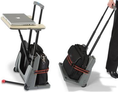 Bagagevagn med inbyggt datorbord
