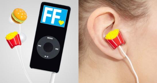 Hamburgare och pommes frites-hörlurar