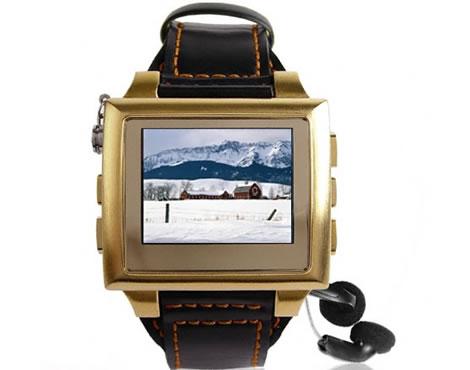 Multimediaklocka i guld