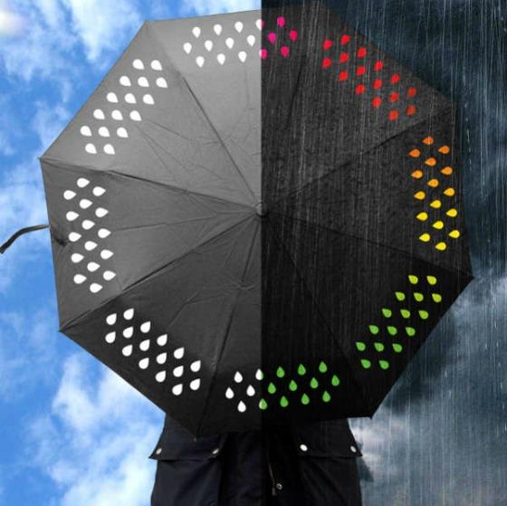 Paraply som ändrar färg i regn