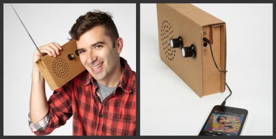 Radio och iPhone-högtalare i papp