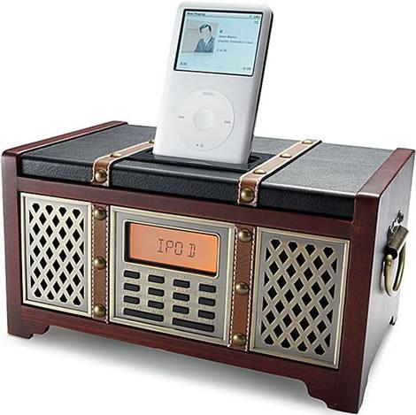 Retroinspirerad iPod-docka med klockradio