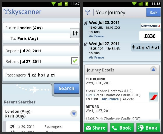 Skyscanner Android-app