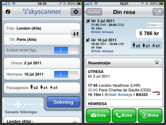 Skyscanner iPhone-app