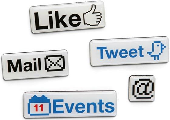 Sociala medier-inspirerade kylskåpsmagneter