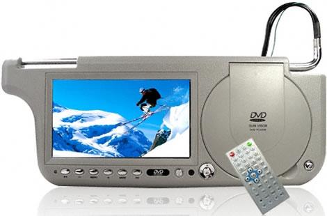 Solskydd med inbyggd DVD, TV och radio