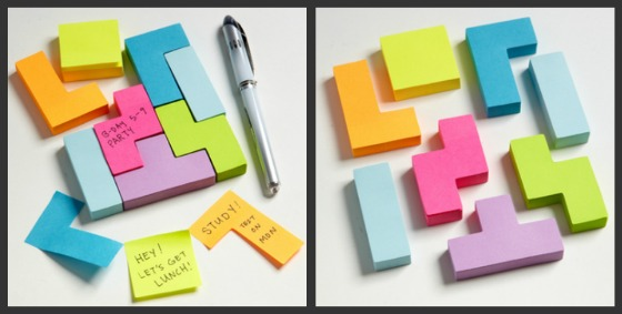 Tetris-inspirerade Post-It-lappar