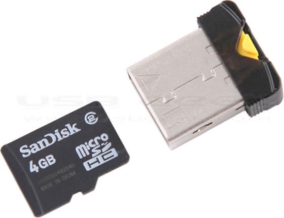 USB NanoSac microSDHC kortläsare