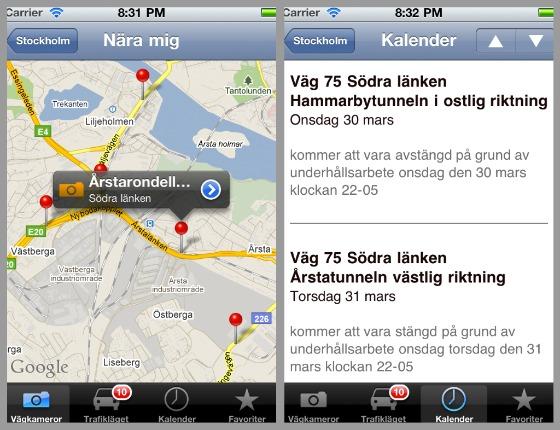 Trafiken nu iPhone-app