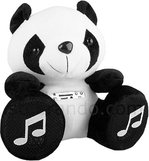 Panda med högtalare och musikspelare