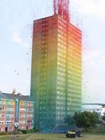Färgglatt höghus